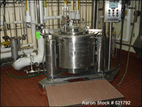 """USED: Ametek 30"""" x 18"""" perforated basket centrifuge, model 1-B-1. C-276 Hastelloy construction on product contact areas, max..."""