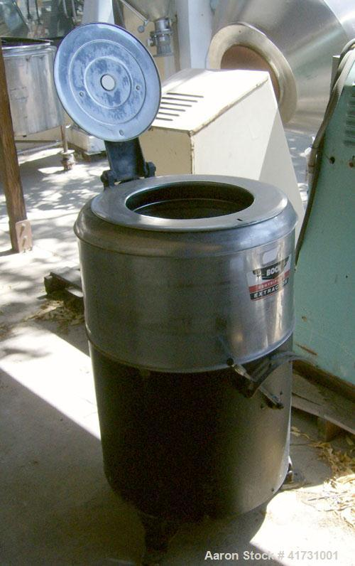 "Used- Bock Centrifugal Extractor, Model 24-0, stainless steel. 16"" diameter x 9"" deep perforated basket, top load and unload..."