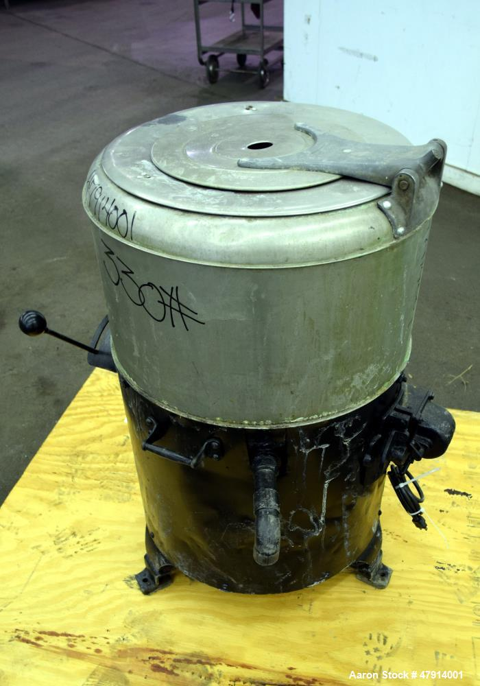 "Used- Bock Centrifugal Extractor, Model 24-BC. 17"" Diameter x 9"" deep Alloy 400 perforated basket. 15 Pound dry capacity, to..."