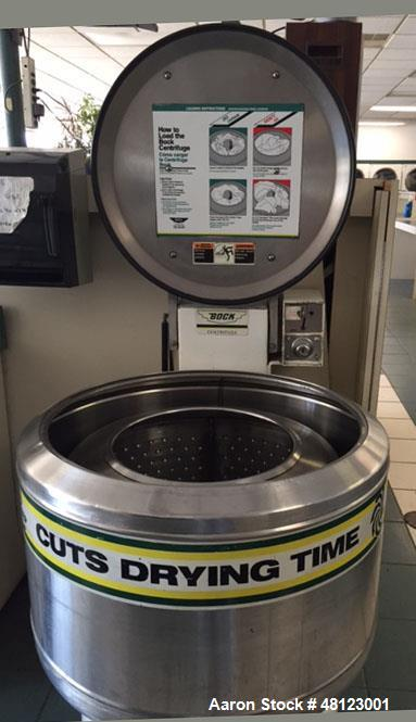 """Used- Bock Centrifuge, Model 606. 60 lb. dry weight capacity. 30"""" wide inside tub. Stainless steal perforated basket 14 1/2""""..."""