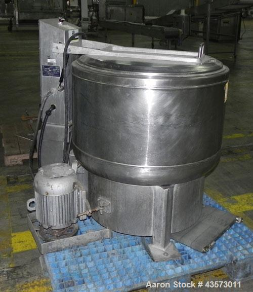 """Used- Bock FP-805 Food Processing Centrifuge. 304 Stainless steel product contact areas. Approximate 30"""" diameter x 15"""" deep..."""