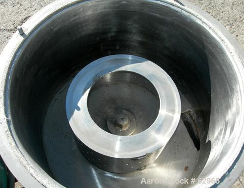 """USED: Delaval 8"""" x 4"""" perforated basket centrifuge. 316/317 stainless steel construction (product contact areas). Top load/u..."""