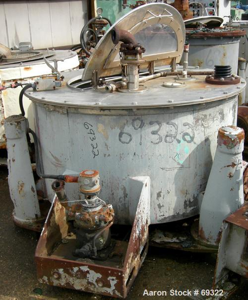 """USED: Delaval/ATM 48"""" x 20"""" perforated basket centrifuge, 316 stainless steel construction (product contact areas). Max bowl..."""