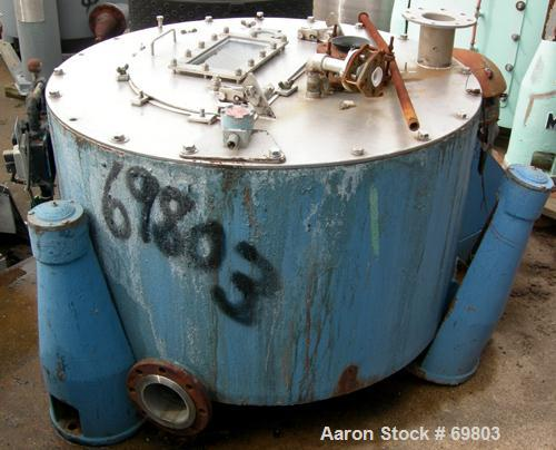 """USED: Delaval/ATM 40"""" x 20"""" perforated basket centrifuge, 316 stainless steel construction. Top load, top unload, tri-pod su..."""