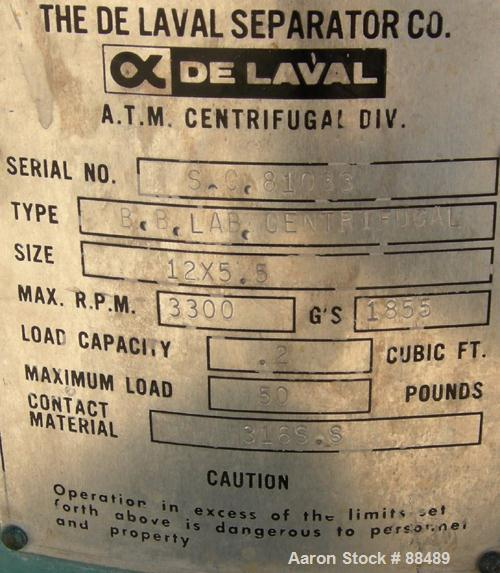"USED: Delaval model BB 12"" x 5.5"" perforated basket centrifuge, 316 stainless steel product contact areas. Top load/unload. ..."