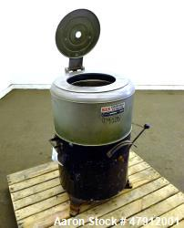 "Used- Bock Centrifugal Extractor, Model 24-B-C. 17"" Diameter x 9"" deep Alloy 400 perforated basket. 15 Pound dry capacity, t..."