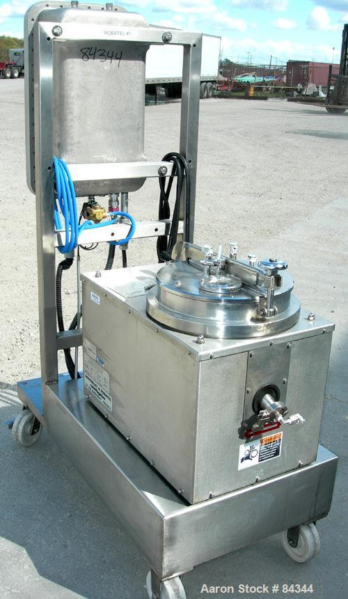 """USED: Rousselet 12"""" x 6"""" perforated basket centrifuge, model RC30VX, 304 stainless steel construction on product contact are..."""