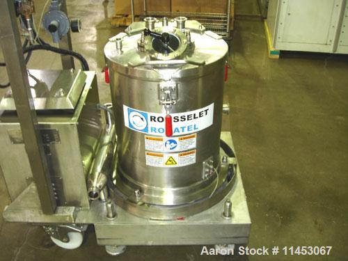 Used-Rousselet-Robatel RC40VTR Perforated Basket Centrifuge. 316 stainless steel construction on product contact areas, bask...