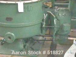 USED: Sharples 30 x 14 Hurricane solid basket centrifuge, 304 stain-less steel. Bowl has baffles and skimmer tube, 5 hp XP m...