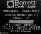 USED: Barrett washer dryer centrifuge, model WDS. Stainless steel. Approximately 36