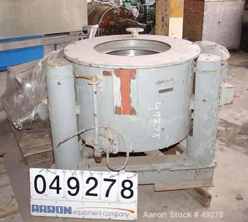 "USED:Tolhurst 30"" x 17"" perforated basket centrifuge, 316 stainless steel. Max bowl speed 1400 rpm. Top load, top unload, tr..."
