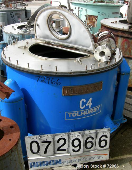 """USED: Tolhurst 40"""" x 18"""" perforated basket centrifuge. Halar coated curb housing and basket, stainless steel top cover with ..."""