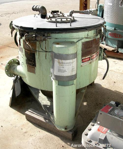 "Used- Tolhurst 30"" x 17"" Perforated Basket Centrifuge, Stainless Steel Construction with Haylar Coated Product Contact Areas..."