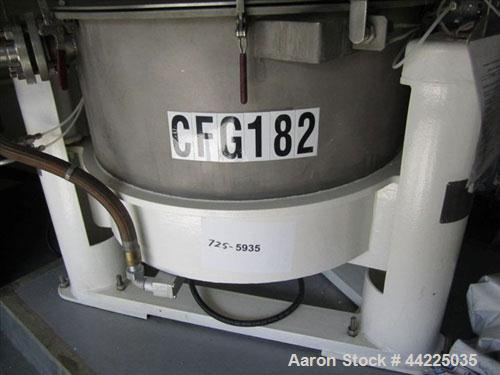 "Used- Tolhurst Mark III Model Flip-Top 30"" X 20"" Basket Centifuge. Stainless steel, 1360 rpm,  83#/cubic foot capacity. Top ..."