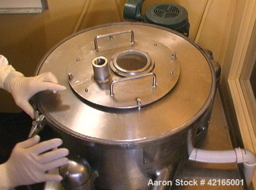 """Used-Tolhurst/Ketema 16"""" x 6"""" Perforated Basket Centrifuge. Stainless steel construction, max basket speed 2900 rpm, top unl..."""
