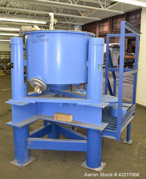 """Used- Tolhurst 30"""" x 17"""" Perforated Basket Centrifuge. 316 Stainless steel construction on product contact areas. Approximat..."""
