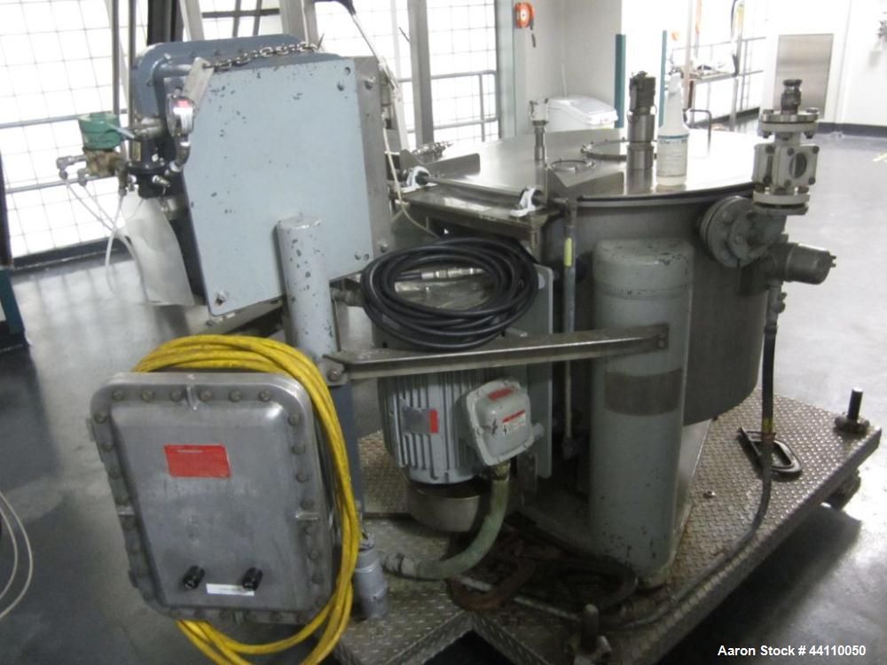 "Used- Tolhurst (ketema) basket centrifuge, 30"" Hastelloy C-276 flip top, 680-1360 RPM, rating 91 lbs / ft cu, serial # T56709"