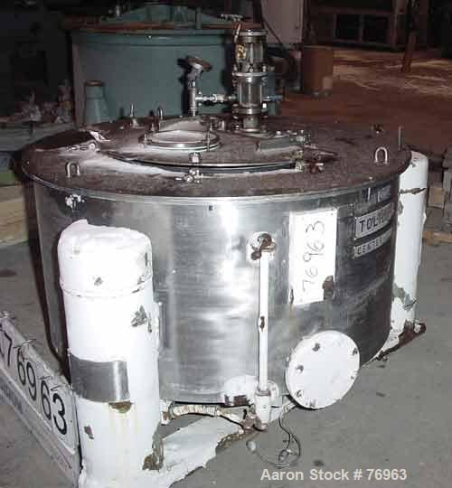 """Used- Tolhurst 48"""" x 20"""" Centerslung Perforated Basket Centrifuge. 316 Stainless steel construction on product contact areas..."""