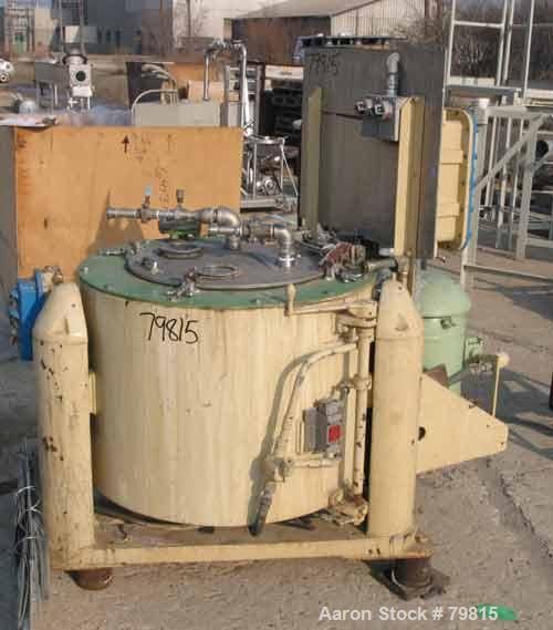 """USED: Tolhurst 30"""" x 18"""" perforated basket centrifuge, carbon steel construction on product contact areas. Top load, top unl..."""