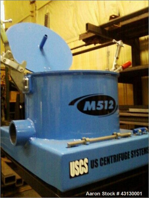 "Used-US Centrifuge M512 Solid Bowl Basket Centrifuge.Carbon steel frame with aluminum bowl assembly, max ""G"" force 1500, sol..."