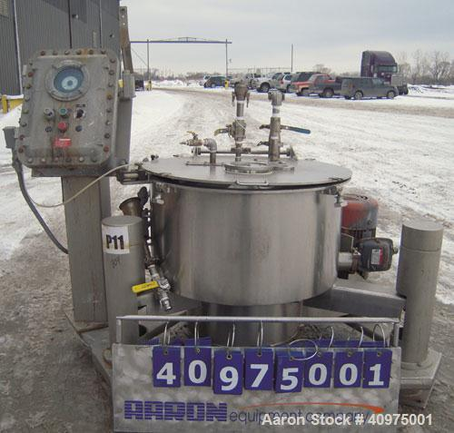 """Used- Western States 26"""" x 12"""" Perforated Basket Centrifuge. 316 stainless steel construction (product contact areas), top l..."""