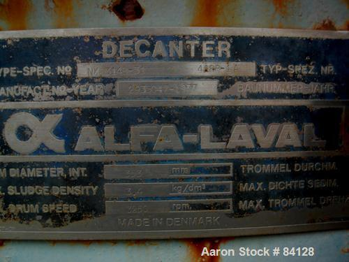 USED: Alfa Laval NX-314B-31 solid bowl decanter base and casing assembly.
