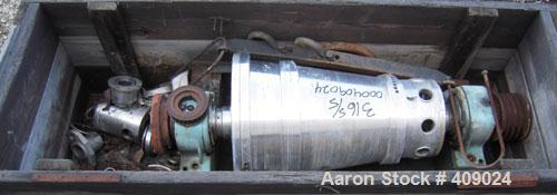 "Used- Alfa Laval NX210 Rotating Assembly, 316 Stainless Steel.  Epicentric liquid dams, 4"" double lead hardsurfaced conveyor..."