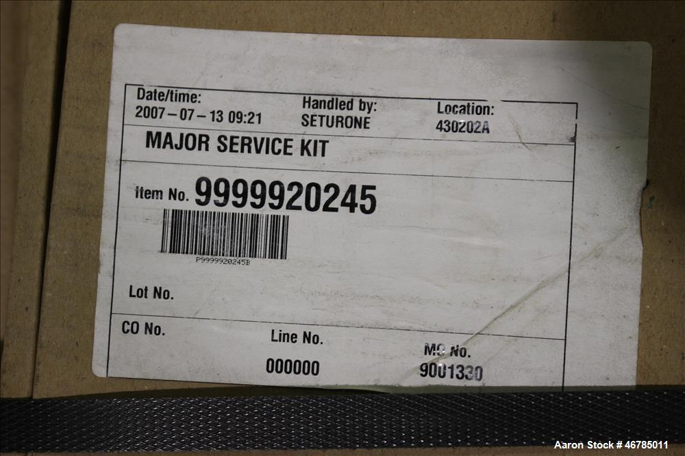 Used- Lot of Alfa Laval Service Kits. Consisting of (2) major service kits, item# 9999920245, (2) major service kits, item# ...