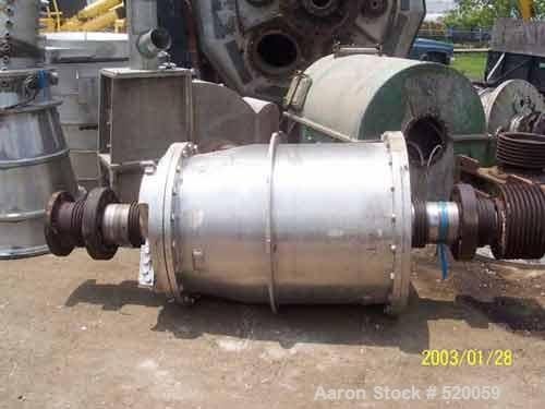 USED: Bird decanter centrifuge rotating assembly, 32 x 50 solid bowl, 316 stainless steel, LB16541, LB16-190672.