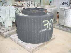 USED: Parts for a Sharples 48 x 30 basket centrifuge consisting of a rubber lined perforated basket.