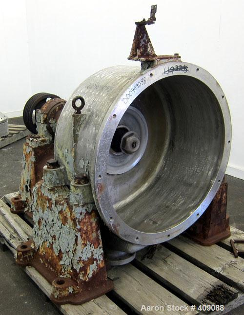Used- Sharples C-27 Super-D-Hydrator centrifuge base, casing, spindle bearing housing with spindle and spindle nut, front do...