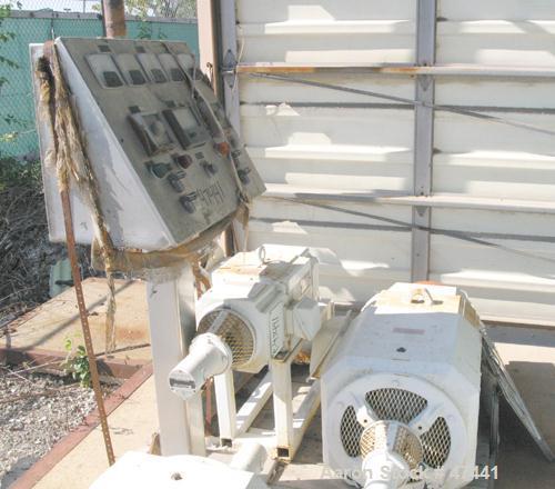 Used-UNUSED: Sharples P3400 Super-D-Canter centrifuge parts consisting of (1) 30 hp, 500 volt, 1750 rpm DC motor on sliding ...