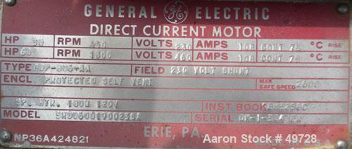 Used- GE Centrifuge DC Motor, Model 5HD060D1900238A. 60/30 hp, 230/460 volt, 650/1300 rpm.
