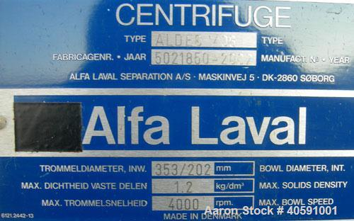 Used- Alfa Laval Decanter, Type ALDEC 406, 316 stainless steel construction on product contact parts. Maximum bowl speed 400...