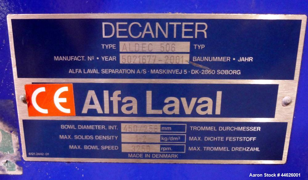 Used- Alfa Laval Aldec 506 Solid Bowl Decanter Centrifuge. 316 Stainless steel (product contact areas). Maximum bowl speed 3...