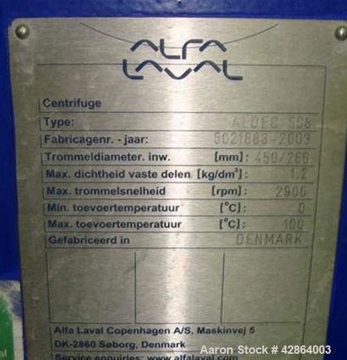 Used-Alfa Laval Aldec 508 Solid Bowl Decanter Centrifuge, 316 stainless steel construction (product contact areas), maximum ...