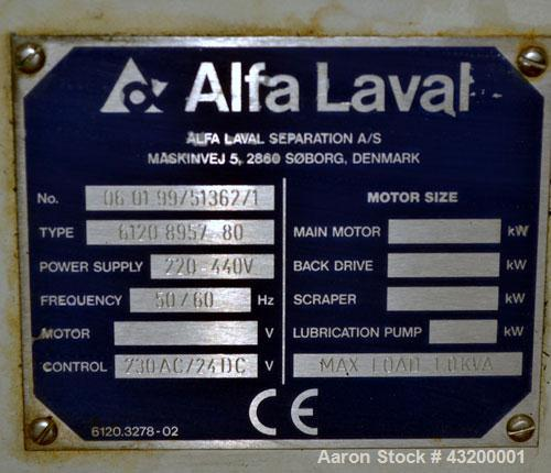 Alfa Laval Decanter AVNX- 4050 Solid Bowl Decanter Centrifuge. 316 Stainless steel construction (product contact areas), max...