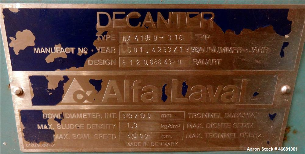 Used- Alfa Laval AVNX-418B-31G Solid Bowl Decanter Centrifuge. 316 Stainless steel construction (product contact areas), 110...