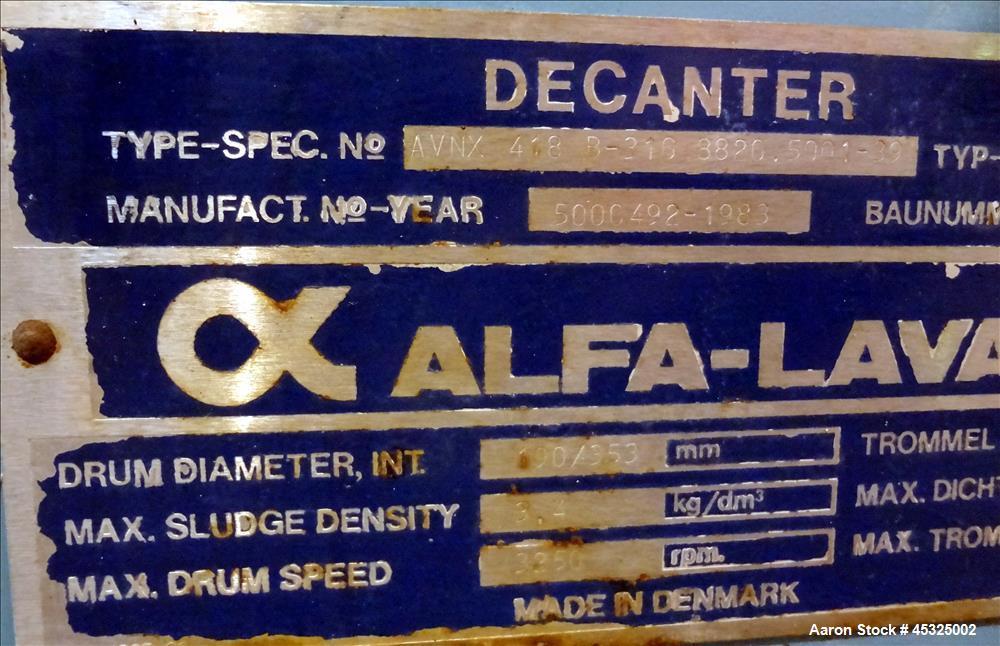 Used- Alfa Laval AVNX-418B-31G Solid Bowl Decanter Centrifuge