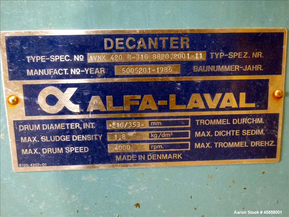 Used- Stainless Steel Alfa Laval Solid Bowl Decanter Centrifuge