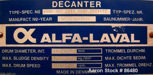 USED: Alfa Laval AVNX-420B-31G solid bowl decanter centrifuge. Max bowl speed 4000 rpm, stainless steel construction on prod...