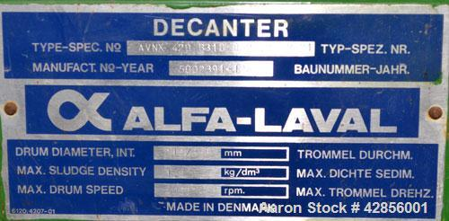 Used- Alfa Laval AVNX-420B-31G Solid Bowl Decanter Centrifuge. 316 Stainless steel construction on product contact areas. Ma...