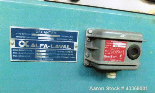 Used-Alfa Laval AXNV-420-B-31G Solid Bowl Decanter Centrifuge.  316 Stainless steel (product contact areas), max bowl speed ...