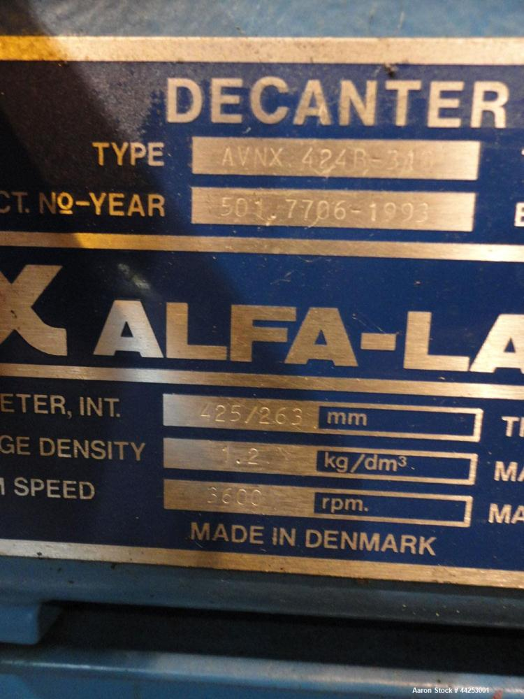 Used- Alfa Laval AVNX 424B-31G (PM-35000 Super) Decanter Centrifuge. 316 Stainless steel construction on product contact are...
