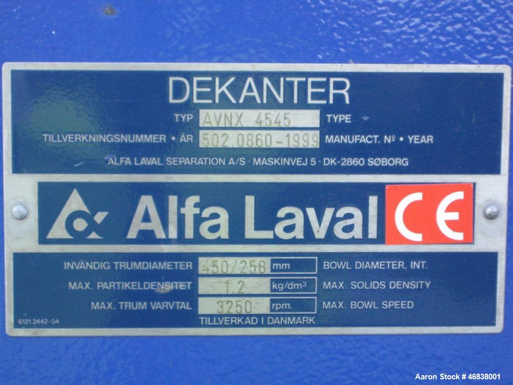 Used- Alfa Laval AVNX-4545 Solid Bowl Decanter Centrifuge. 316 Stainless steel (product contact areas), maximum bowl speed 3...