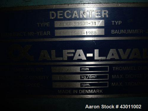 Used-Alfa Laval AVNX-5060B-31G Solid Bowl Decanter Centrifuge. Stainless steel (product contact areas), maximum bowl speed 2...