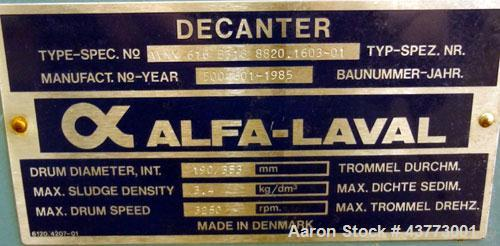 Used- Alfa Laval DMNX-616B-31G-8820.1603-01 31G Solid Bowl Decanter Centrifuge, 316 Stainless Steel (product contact areas)....