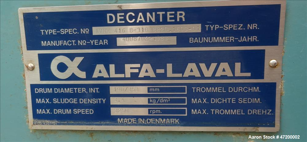 Used- Alfa Laval AVNX-616B-31G Solid Bowl Decanter Centrifuge