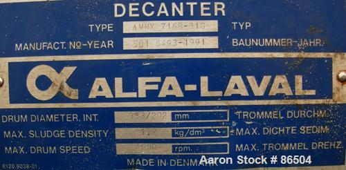 USED: Alfa Laval AVNX-716B-31G solid bowl decanter centrifuge. Max bowl speed 4000 rpm, stainless steel construction on prod...
