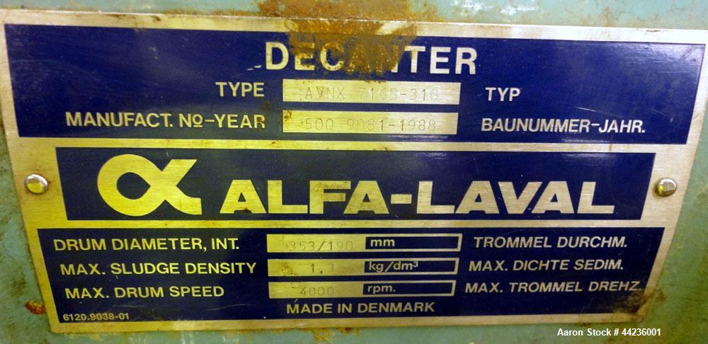 Used- Alfa Laval AVNX-716B-31G Solid Bowl Decanter Centrifuge